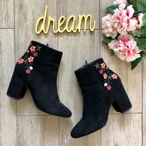 Abound Embroidered Floral Ankle Boots Black
